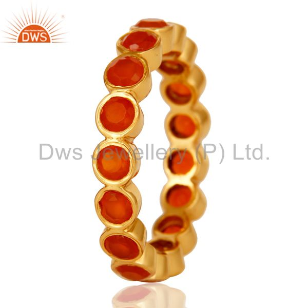 Suppliers 18K Gold Plated Sterling Silver Carnelian Ring Gemstone Band