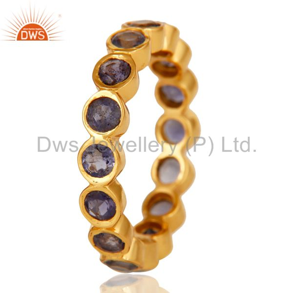 Suppliers 18K Yellow Gold Plated 925 Sterling Silver Iolite Gemstone Band Ring