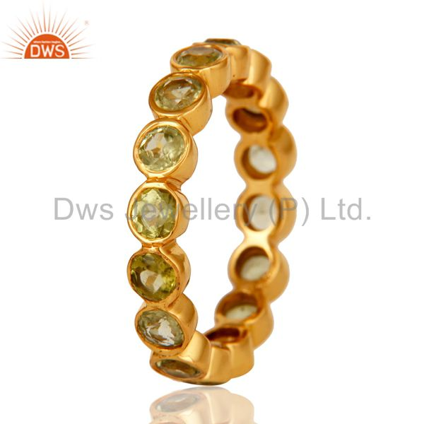 Suppliers 18K Yellow Gold Plated 925 Sterling Silver Peridot Gemstone Band Ring