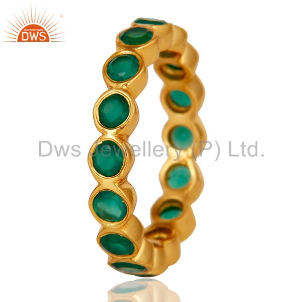 Suppliers 18K Yellow Gold Plated 925 Sterling Silver Green Onyx Gemstone Little Band Ring
