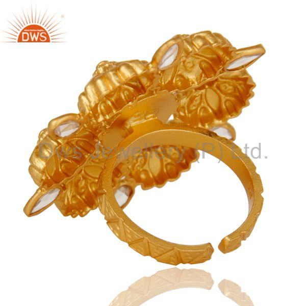 Suppliers 18K Gold Plated Sterling Silver White Zircon Ring Gemstone Band