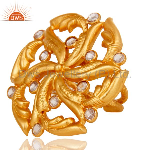 Suppliers Top Quality 22k Gold Plated White Zircon 925 Sterling Silver Ring Jewelry