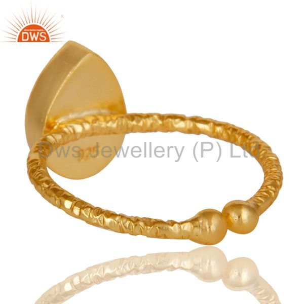 Suppliers 18k Gold Plated 925 Sterling Silver Stackable Ring with Chalcedony