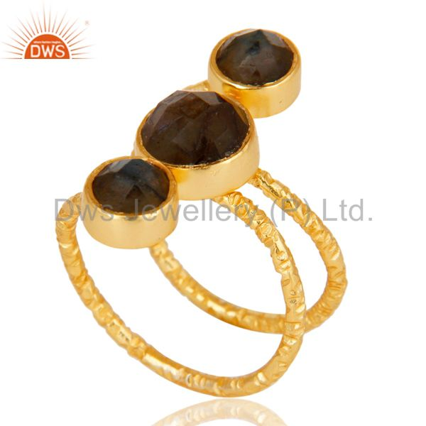 Suppliers Labradorite 925 Sterling Silver Prong Set Joint Ring With 18k Gold Plated