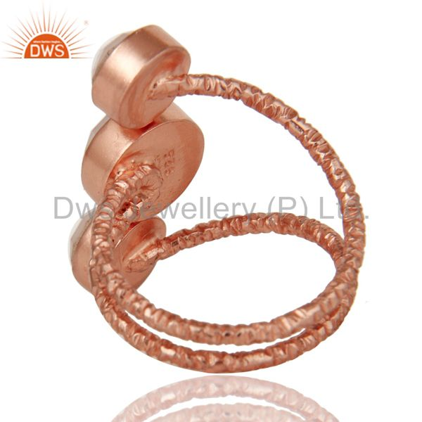 Suppliers 18K Rose Gold Plated 925 Sterling Silver Handmade Dyed Chalcedony Statement Ring