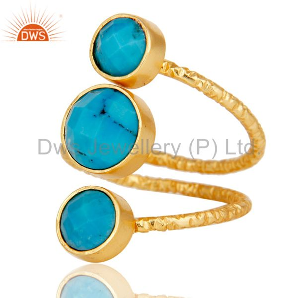 Suppliers Natural Turquoise Sterling Silver Wire Design Ring with 18k Gold Plated