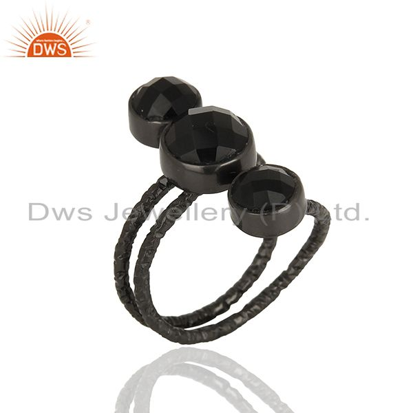 Suppliers Handmade Natural Black Onyx Sterling Silver Wire Design Ring with Black Oxidized