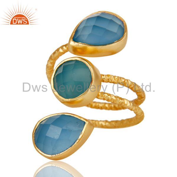 Suppliers Handmade Chalcedony Sterling Silver Prong Set Joint Ring with 18k Gold Plated