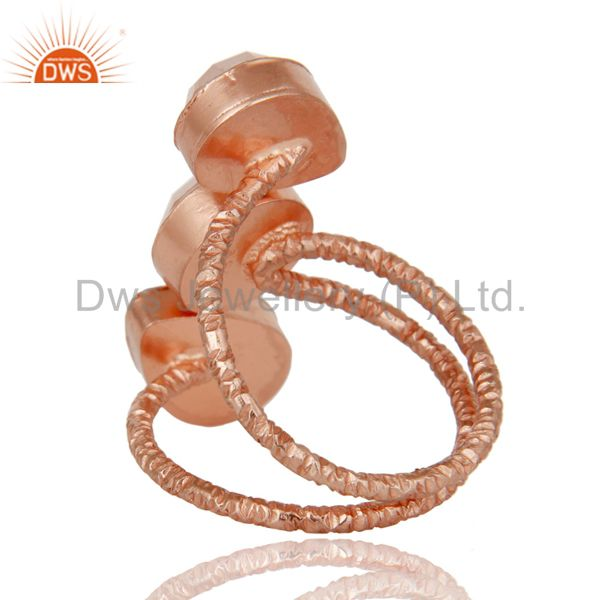 Suppliers Lovely Chalcedony Sterling Silver Prong Set Joint Ring with 18k Rose Gold Plated
