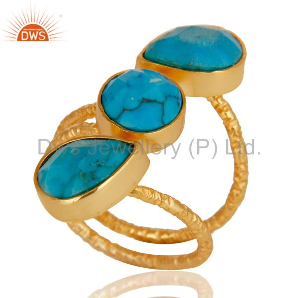 Suppliers Natural Turquoise 925 Sterling Silver Prong Set Joint Ring With 18k Gold Plated
