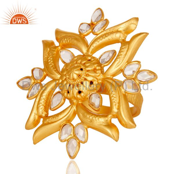 Suppliers 18k Yellow Gold Plated 925 Sterling Silver Flower Design Ring with White Zircon