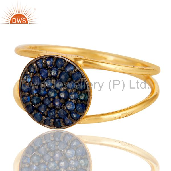 Suppliers 18k Yellow Gold Plated 925 Sterling Silver Blue Sapphire Statement Ring