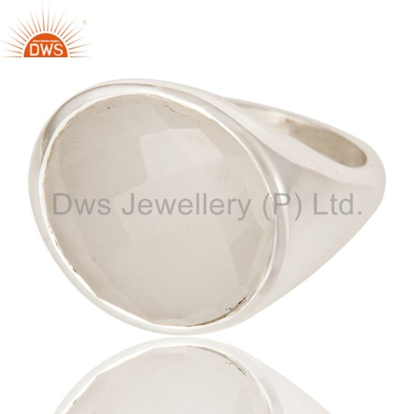 Suppliers Natural Chalcedony Fashion Dome Design 925 Sterling Silver Ring