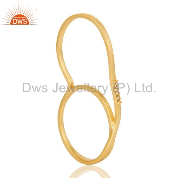 Suppliers 18K Gold Plated Handmade Double Finger White Zirconia Brass Band Ring Jewellery