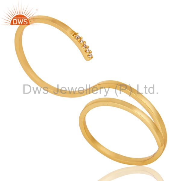 Suppliers Beautiful 18K Gold Plated Handmade Double Finger White Zirconia Brass Band Ring