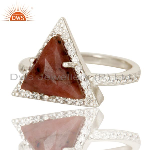 Suppliers Solid 925 Sterling Silver Checkered Rhodonite & White Zirconia Statement Ring