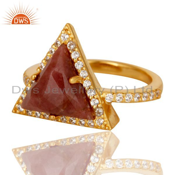 Suppliers 24K Gold Plated 925 Sterling Silver Rhodonite & White Zirconia Statement Ring