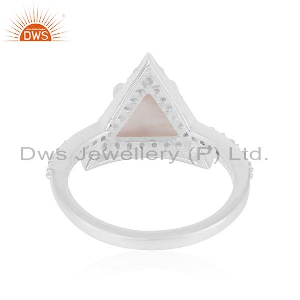Suppliers CZ Rose Quartz Gemstone Triangle Shape Sterling Silver Ring Jewelry