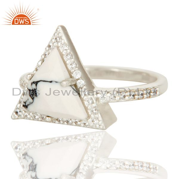 Suppliers Handmade Solid 925 Sterling Silver White Howlite & White Zirconia Statement Ring
