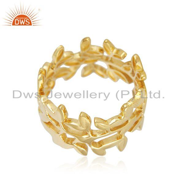 Suppliers Solid 18k Yellow Gold Leaf Design Unisex Wedding Engagement Ring