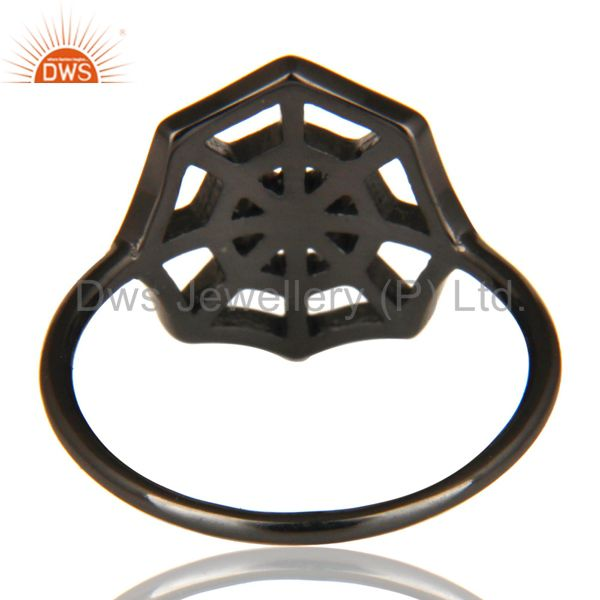 Suppliers Black Oxidized 925 Sterling Silver Handmade Spider Web Design Cocktail Ring