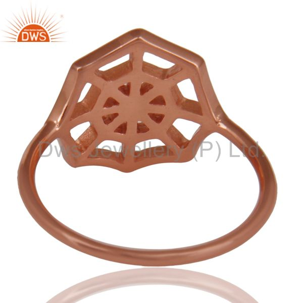 Suppliers 14K Rose Gold Plated Sterling Silver Handmade Spider Web Design Cocktail Ring