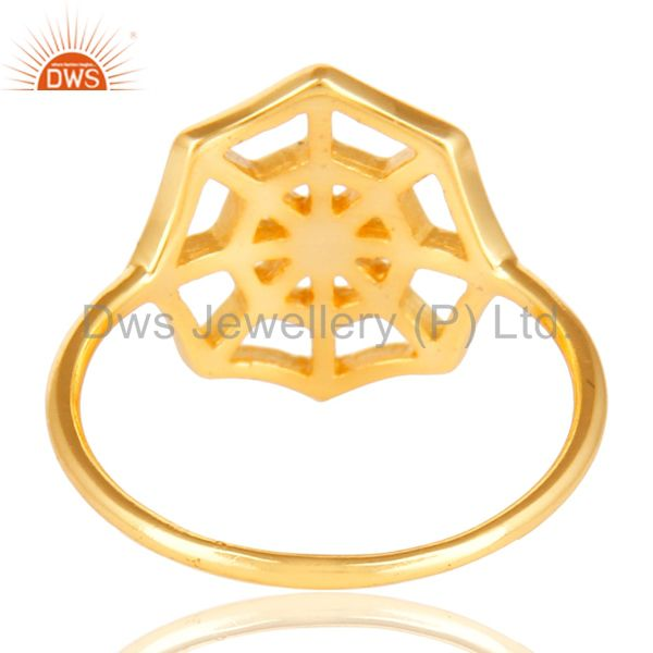 Suppliers 14K Yellow Gold Plated Sterling Silver Handmade Spider Web Design Cocktail Ring