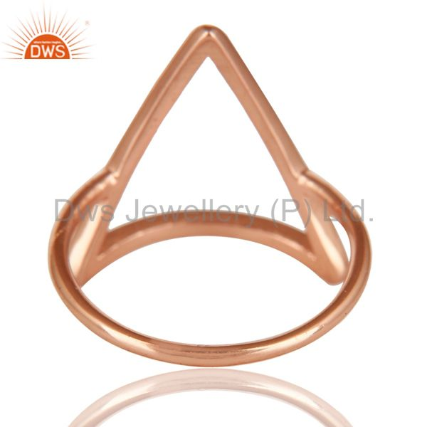 Suppliers 14K Rose Gold Plated Sterling Silver Handmade Art Trillion Design Stackable Ring