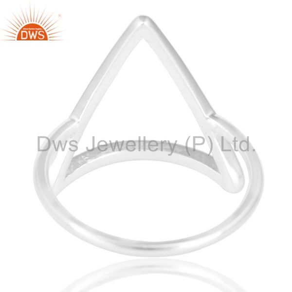 Suppliers Solid 925 Sterling Silver Handmade Art Trillion Design Stackable Ring