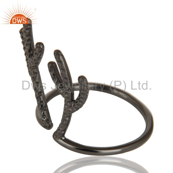 Suppliers Black Oxidized 925 Sterling Silver Handmade Tree Design Knuckle Ring