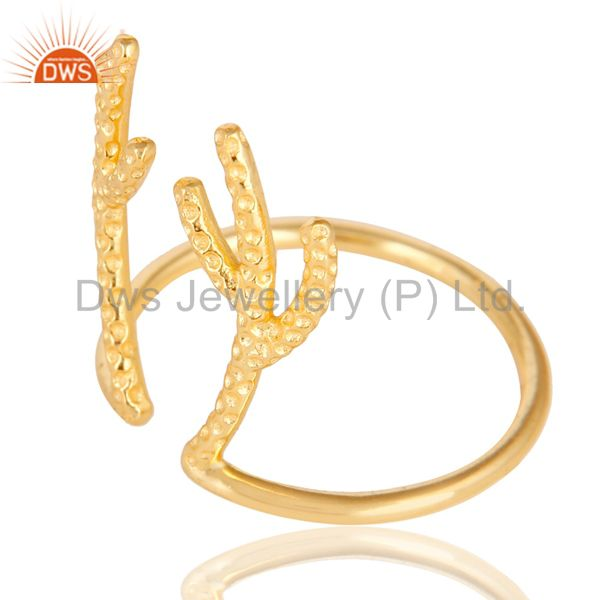 Suppliers 14K Yellow Gold Plated 925 Sterling Silver Handmade Tree Design Knuckle Ring