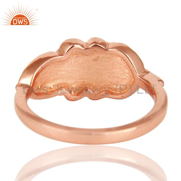 Suppliers 14K Rose Plated 925 Sterling Silver Handmade Jointing Leaf Design Stackable Ring