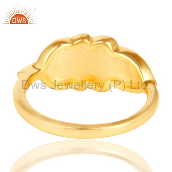Suppliers 14K Gold Plated 925 Sterling Silver Handmade Jointing Leaf Design Stackable Ring