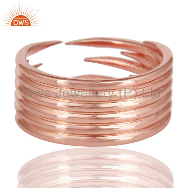 Suppliers 14K Rose Gold Plated Sterling Silver Handmade Six Line Design Stackable Ring