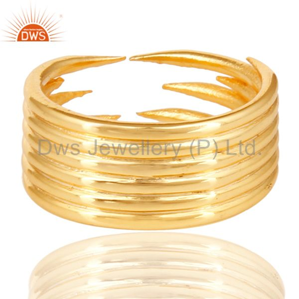 Suppliers 14K Yellow Gold Plated Sterling Silver Handmade Six Line Design Stackable Ring