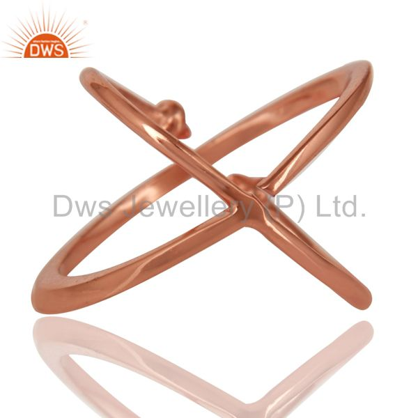Suppliers 14K Rose Gold Plated 925 Sterling Silver Handmade Pyramid Design Stackable Ring