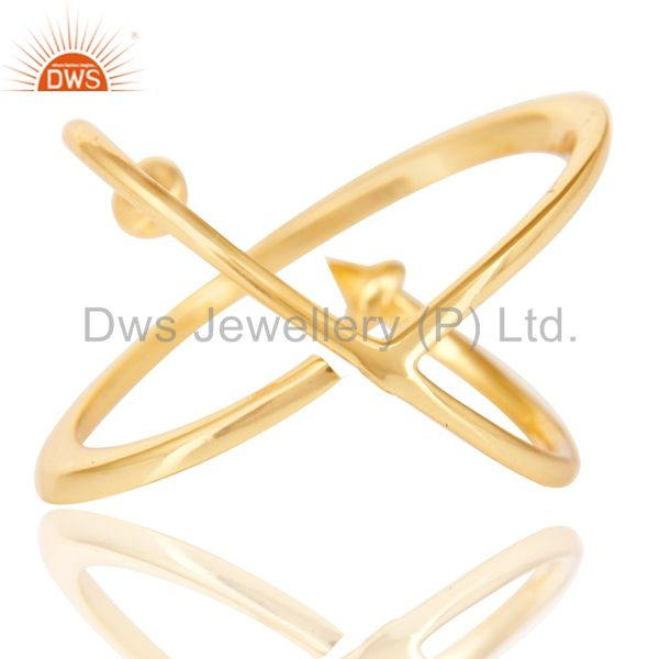Suppliers 14K Yellow Gold Plated Sterling Silver Handmade Pyramid Design Stackable Ring