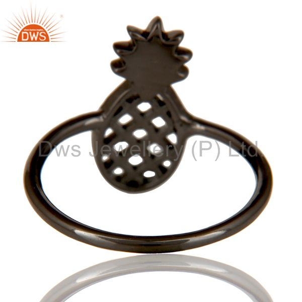 Suppliers Black Oxidized 925 Sterling Silver Handmade Art Pineapple Design Cocktail Ring