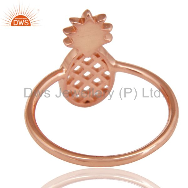 Suppliers 14K Rose Gold Plated Sterling Silver Handmade Art Pineapple Design Cocktail Ring
