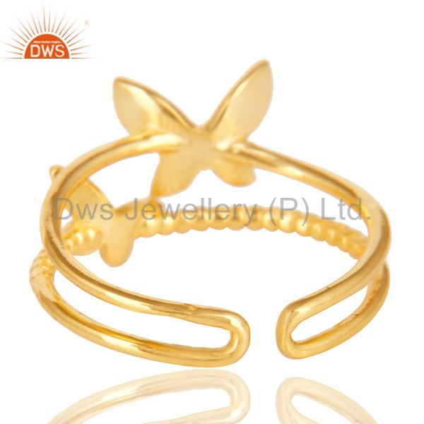 Suppliers 14K Yellow Gold Plated Sterling Silver Handmade Butterfly Design Stackable Ring