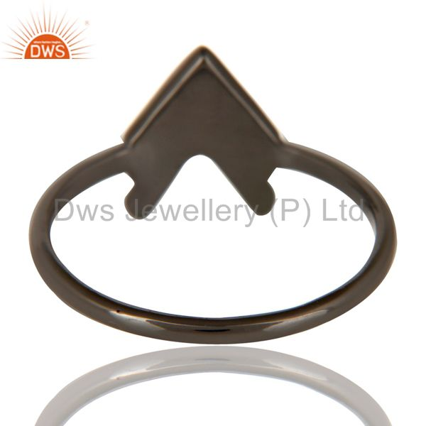 Suppliers Black Oxidized 925 Sterling Silver Handmade Art Arrow Design Stackable Ring