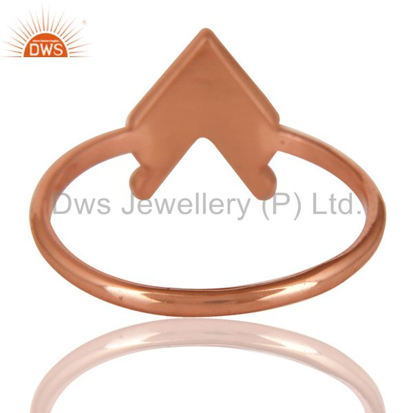 Suppliers 14K Rose Gold Plated Sterling Silver Handmade Art Arrow Design Stackable Ring