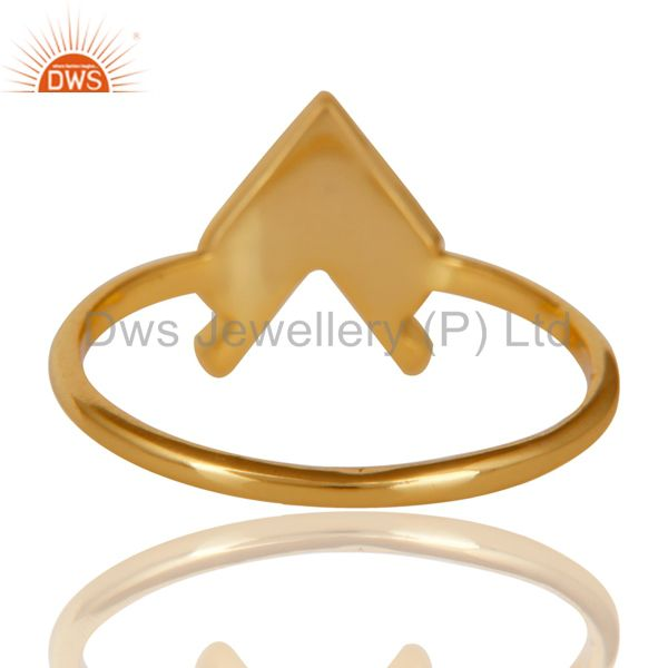 Suppliers 14K Gold Plated 925 Sterling Silver Handmade Art Arrow Design Stackable Ring
