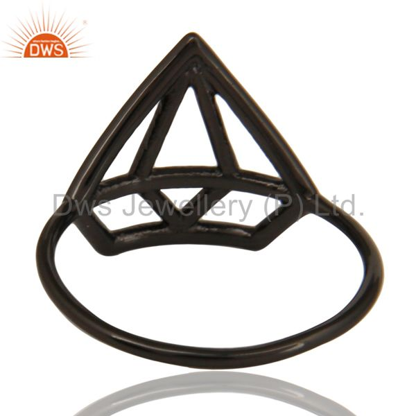 Suppliers Black Oxidized 925 Sterling Silver Handmade Without Stone Style Stackable Ring