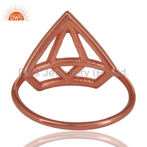 Suppliers 14K Rose Gold Plated 925 Silver Handmade Without Stone Style Stackable Ring