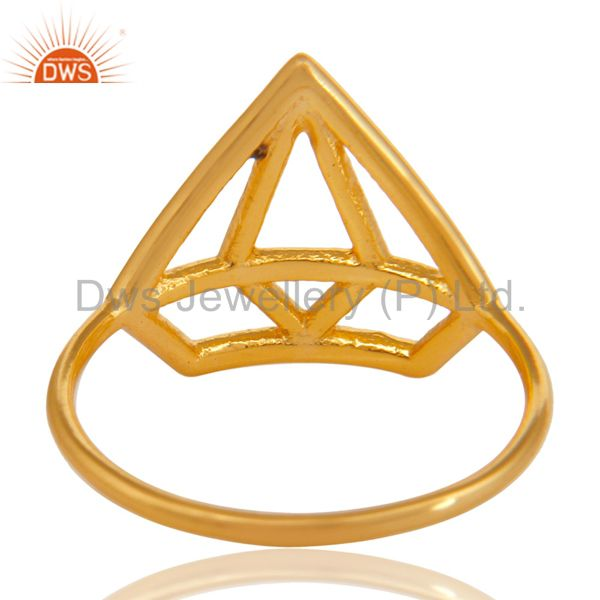 Suppliers 14K Gold Plated 925 Sterling Silver Handmade Without Stone Style Stackable Ring