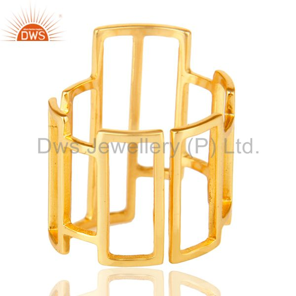 Suppliers 14K Yellow Gold Plated Sterling Silver Handmade Art Deco Fashion Cocktail Ring