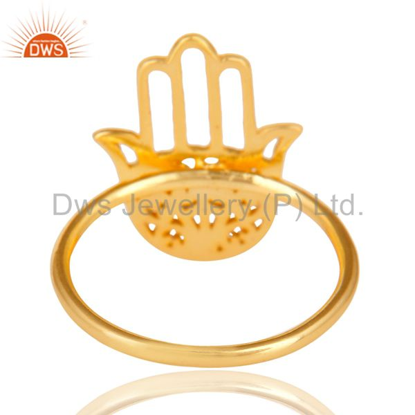 Suppliers 14K Yellow Gold 925 Sterling Silver Handmade Art Hand Design Cocktail Ring