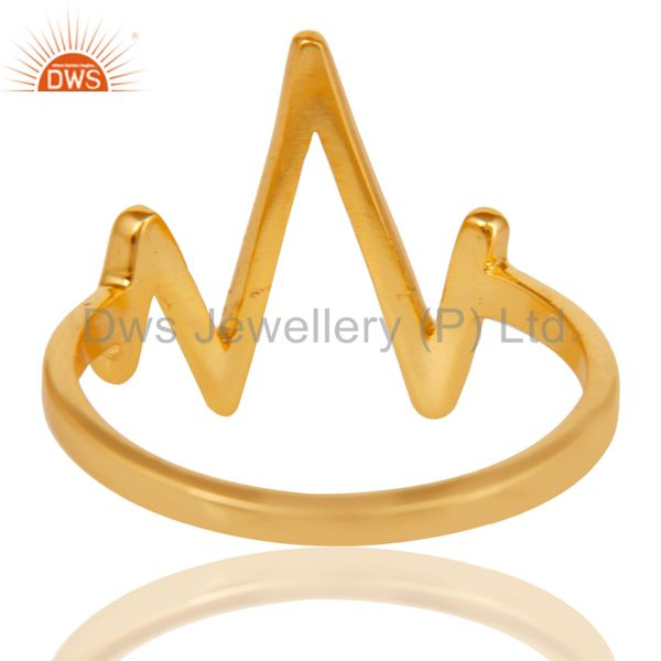 Suppliers 14K Yellow Gold Plated Sterling Silver Handmade Zig Zag Design Stackable Ring