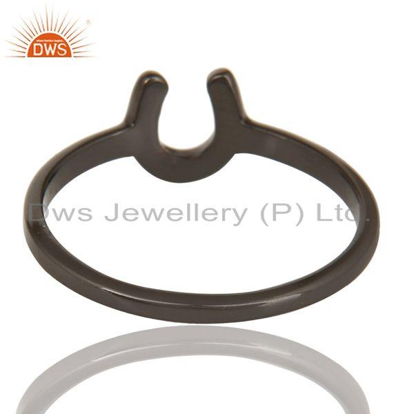 Suppliers Black Oxidized 925 Sterling Silver Handmade Alphabatic Design Stackable Ring